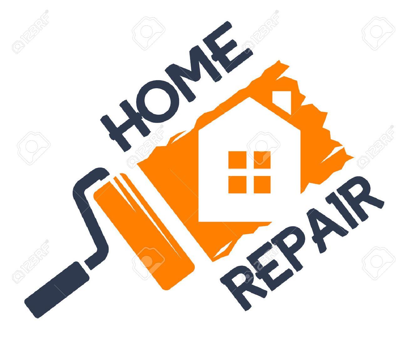 The emblem of home repair. Vector illustration. - 45946244