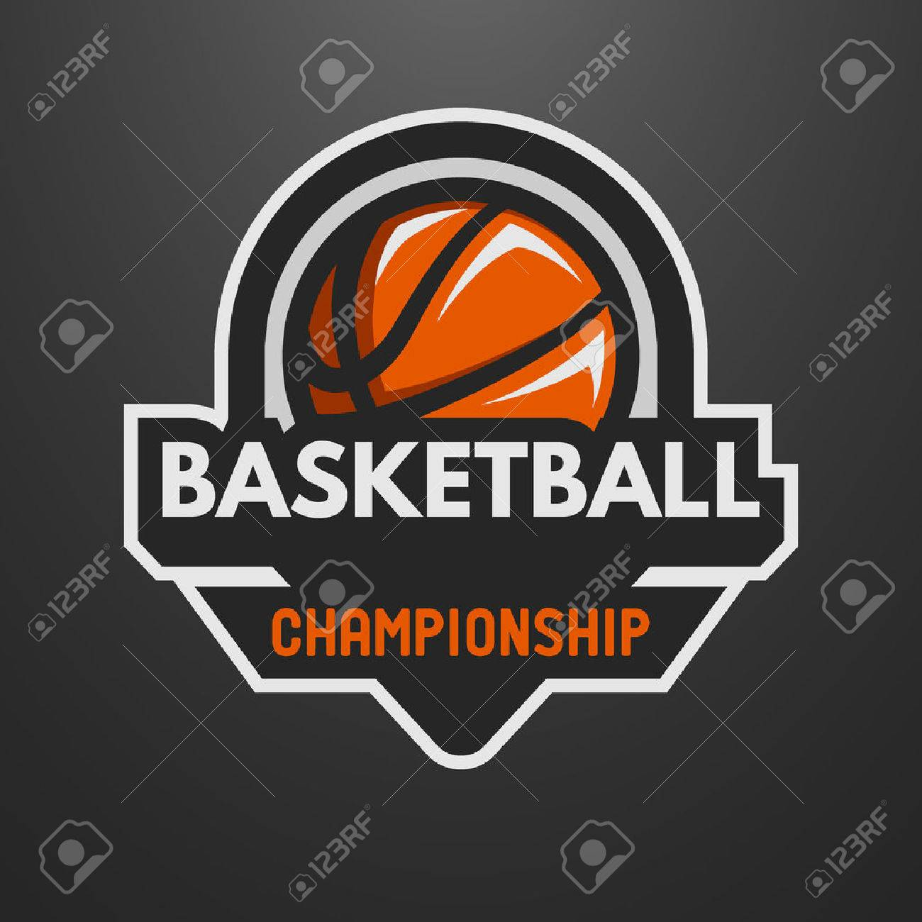 Basketball sports logo, label, emblem on a dark background. - 47563303