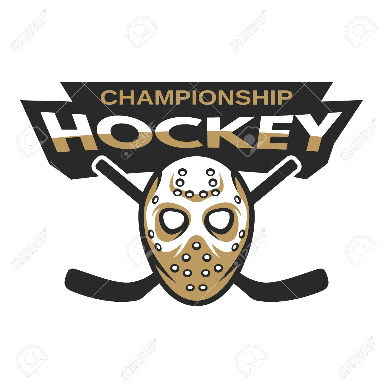 Ice Hockey Sports Mascot Logo Hockey Goalie Mask With Sticks