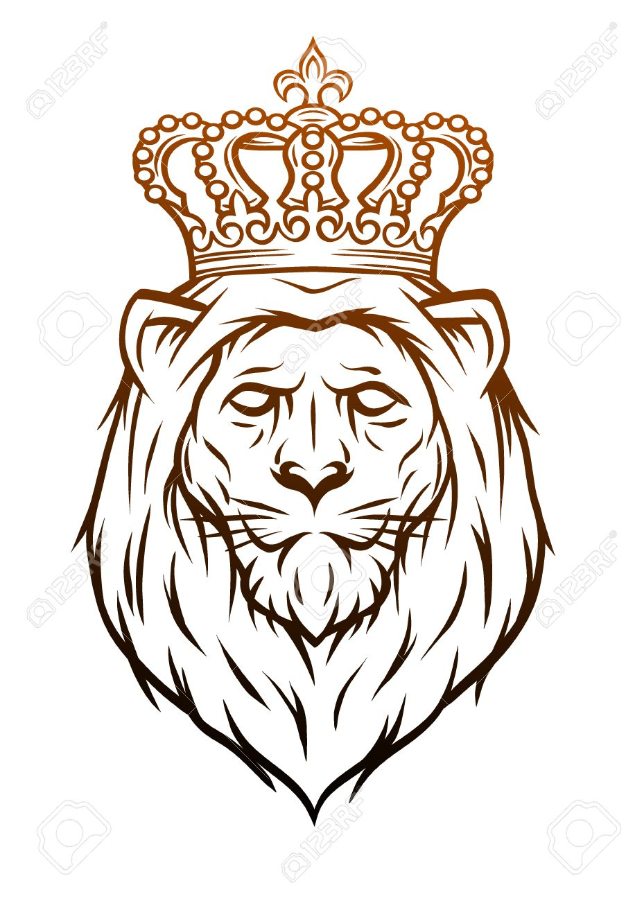 King Lion Heraldic Symbol Hand Drawn Vector Illustration