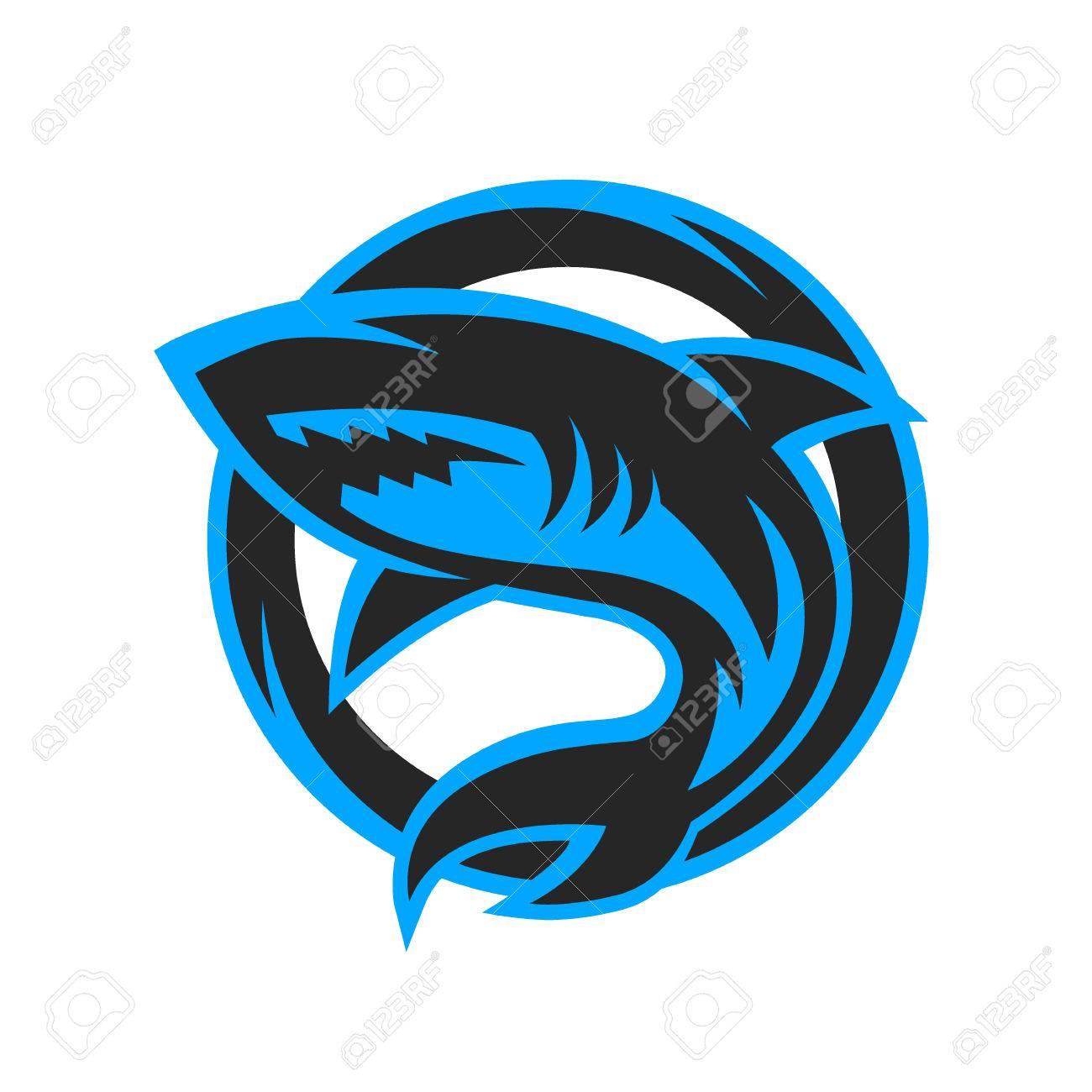 shark sport logo symbol emblem vector illustration royalty free