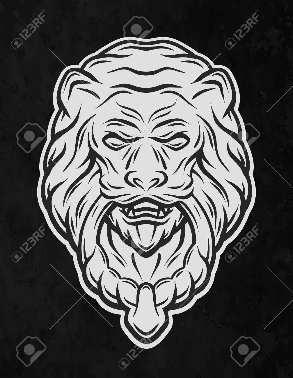 Lion Head Door Knocker. On A Dark Background. Vector Illustration. Stock  Vector
