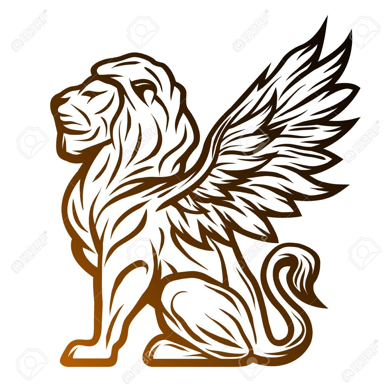 Mythological lion statue with wings. On a dark background. - 52628346