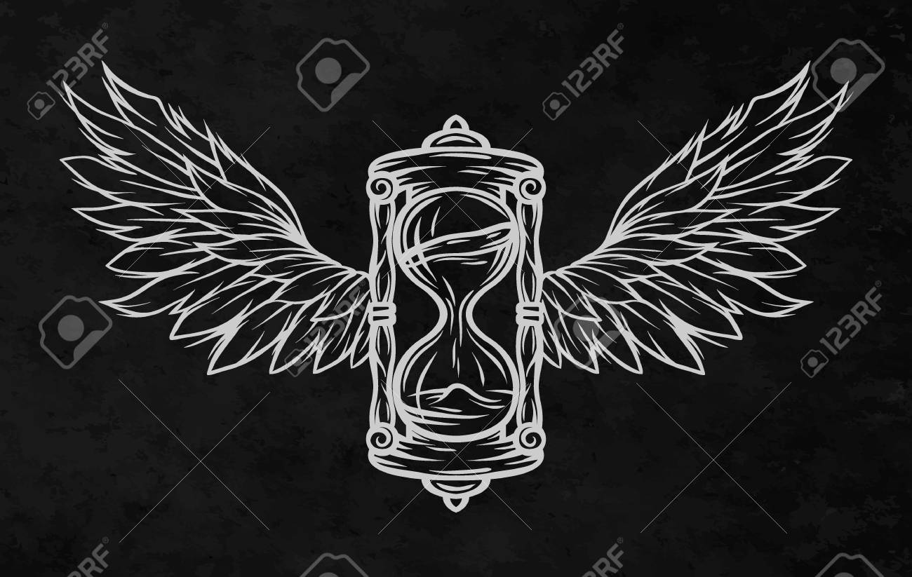 Line Art Illustration Style : Hourglass and wings for a dark background. line art style. royalty