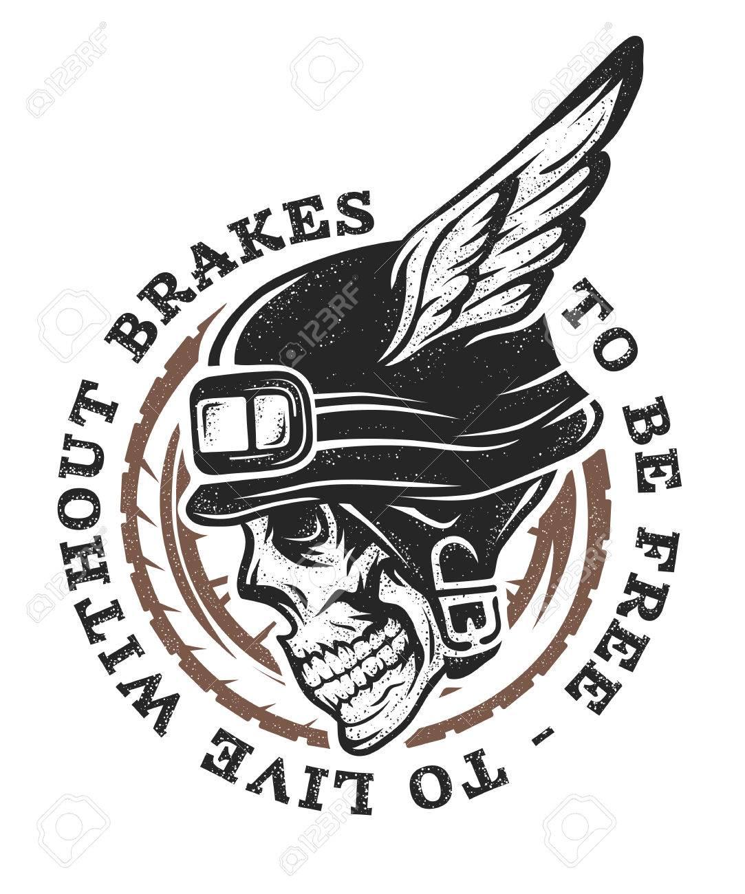 Skull Biker Helmet With Wings Emblem Symbol Tshirt Graphic Royalty