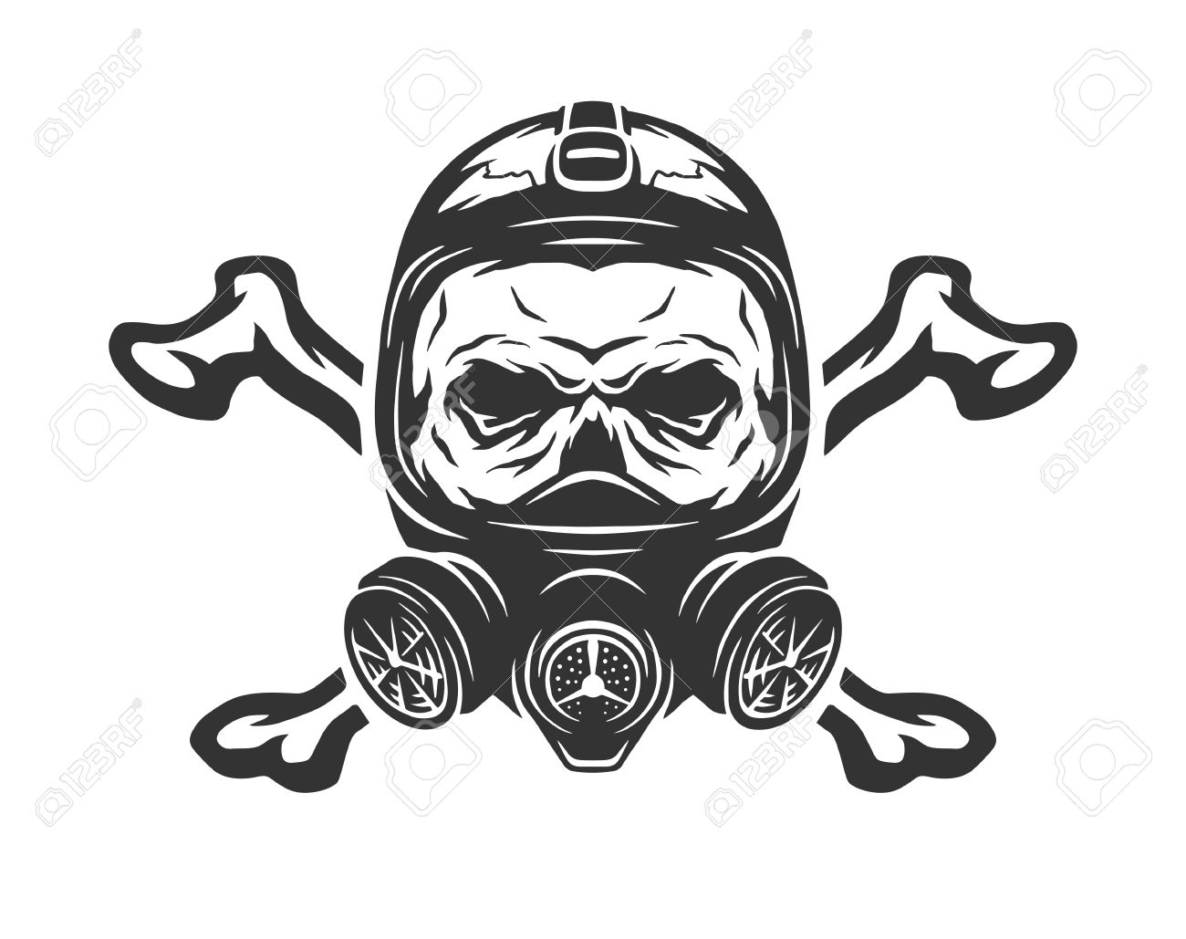 Skull Wearing A Gas Mask And Crossbones Vector Illustration Stock
