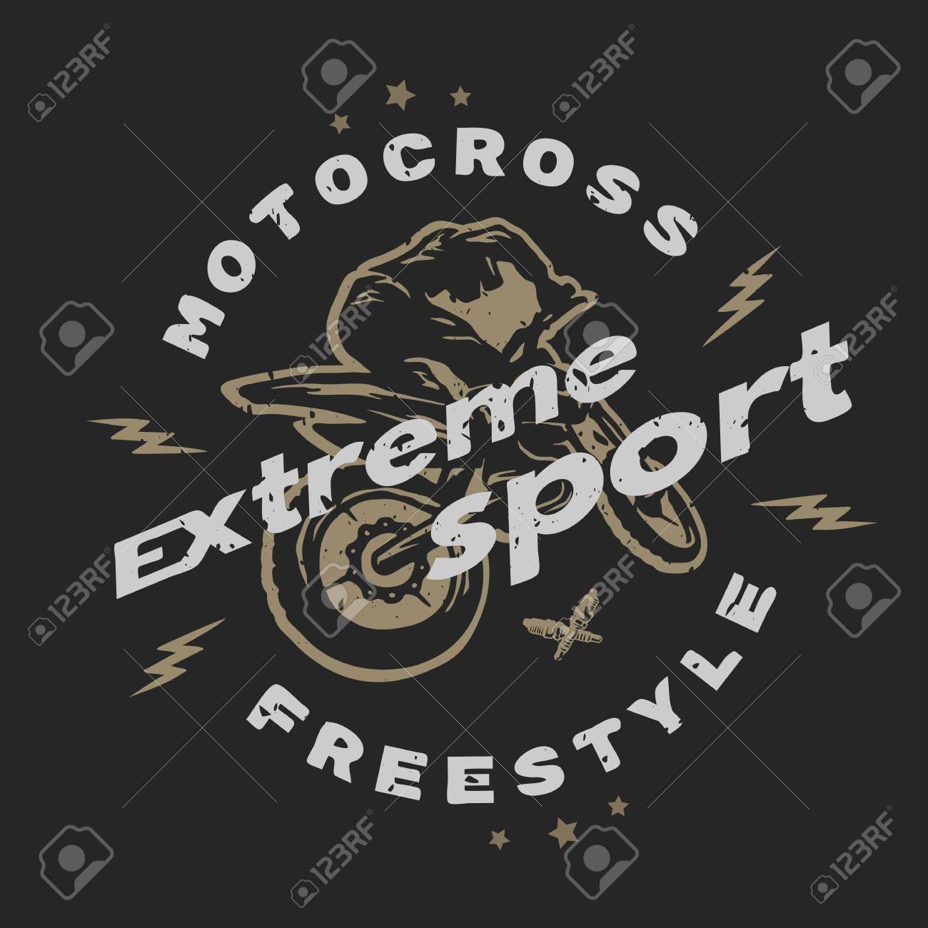 Design t shirt motocross - Motocross Extreme Sport Emblem T Shirt Design For A Dark Background