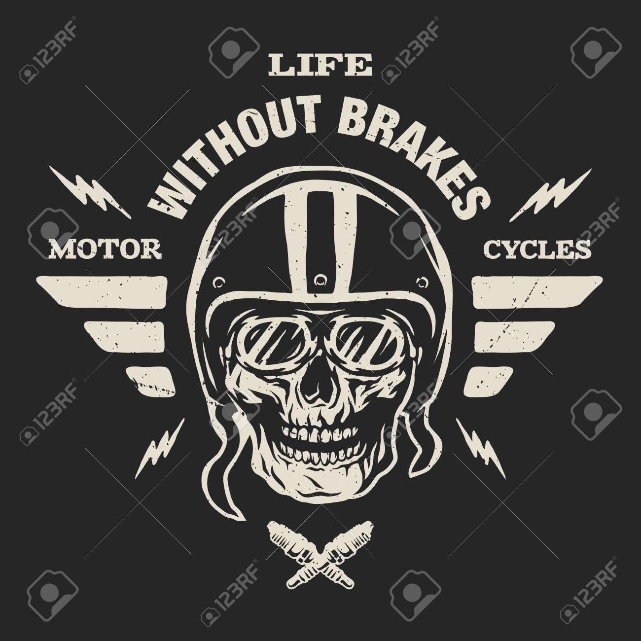 Racer Skull In Helmet Vintage Style Emblem T Shirt Design