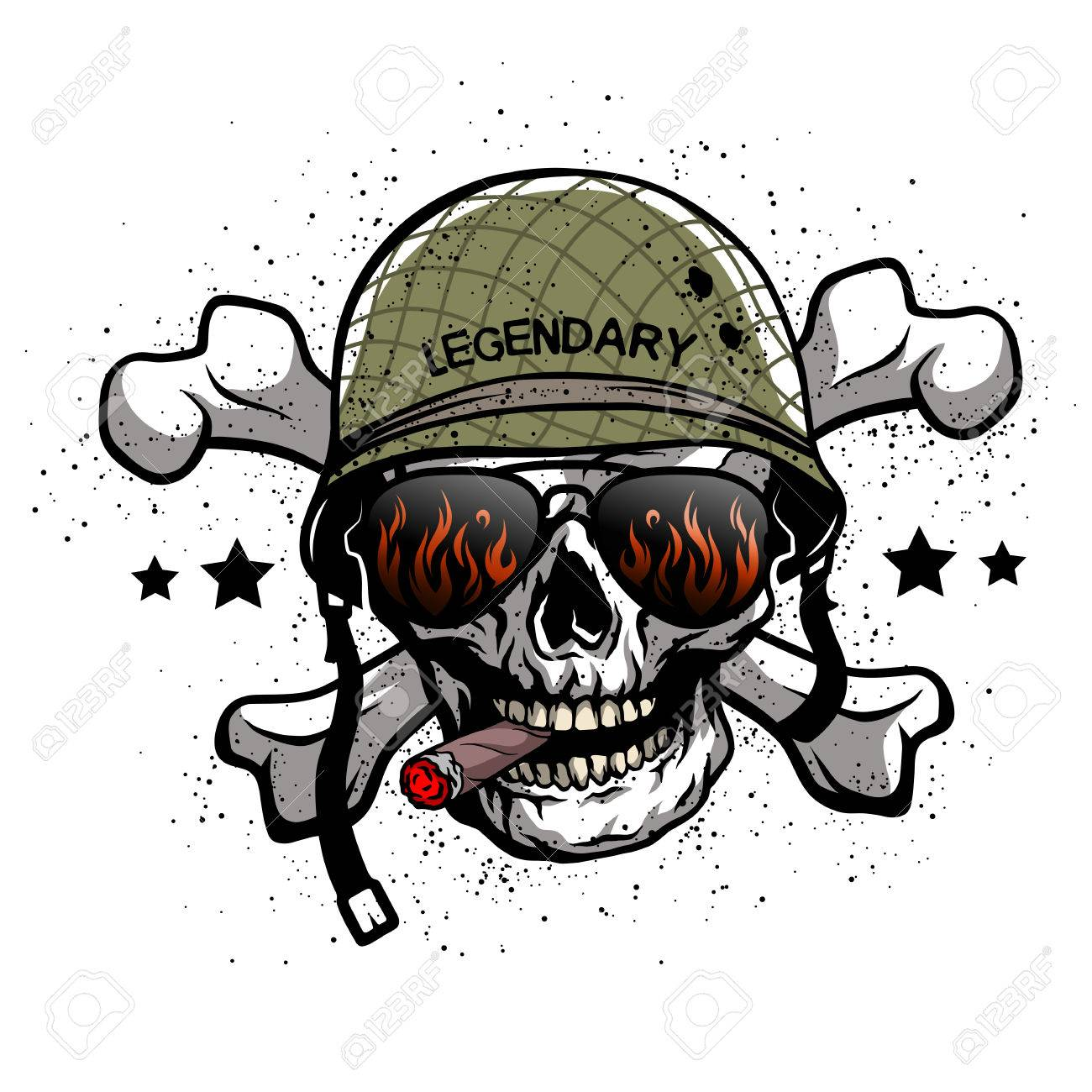 Skull with sunglasses and a military helmet. The illustration on the theme of the army. - 62145766