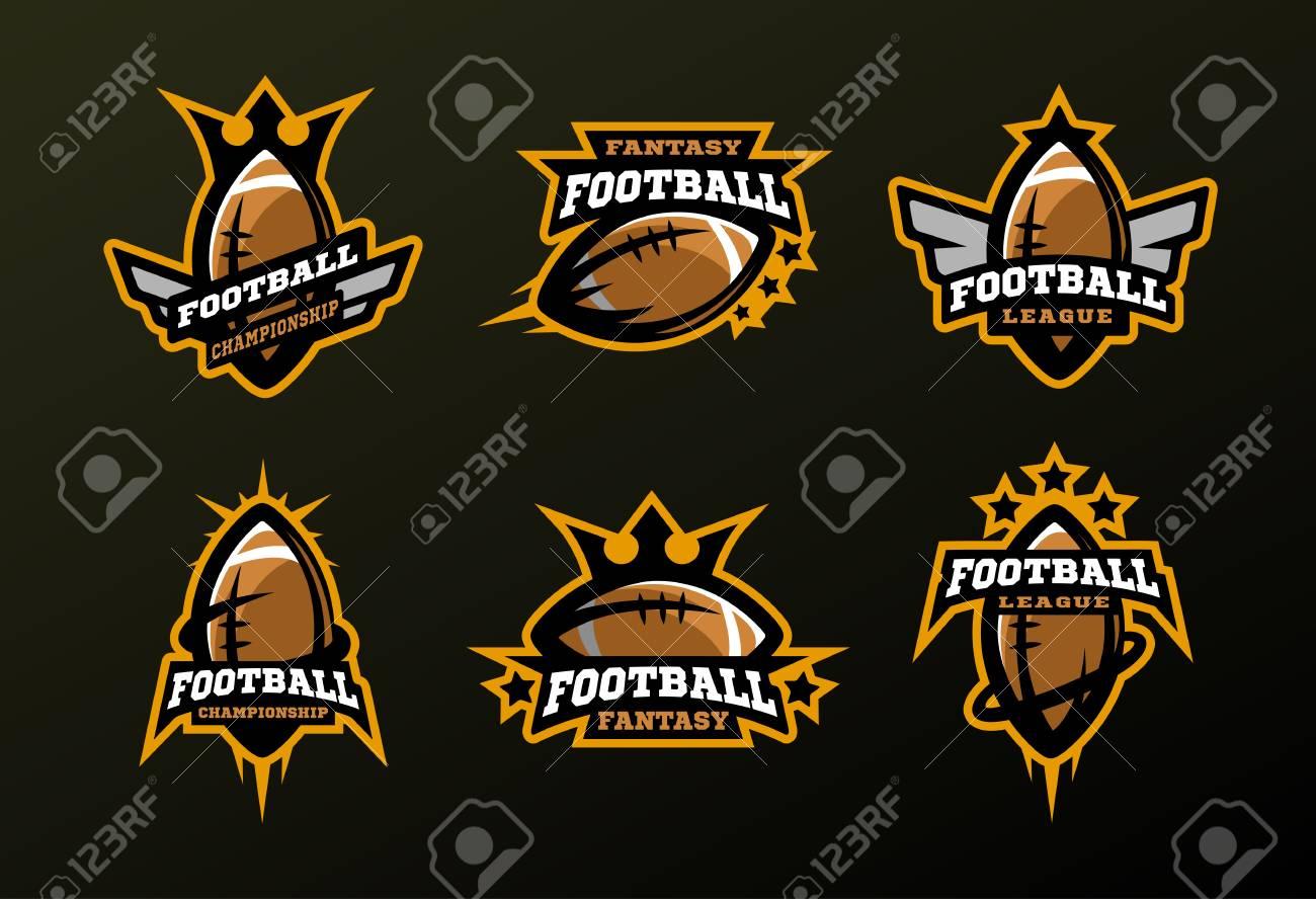 Conjunto De Logotipos Deportivos Juegos En Futbol Americano