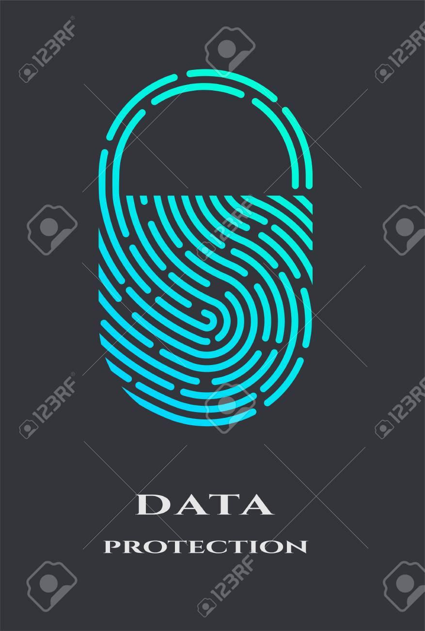 Fingerprint padlock logo, sign. - 104534455