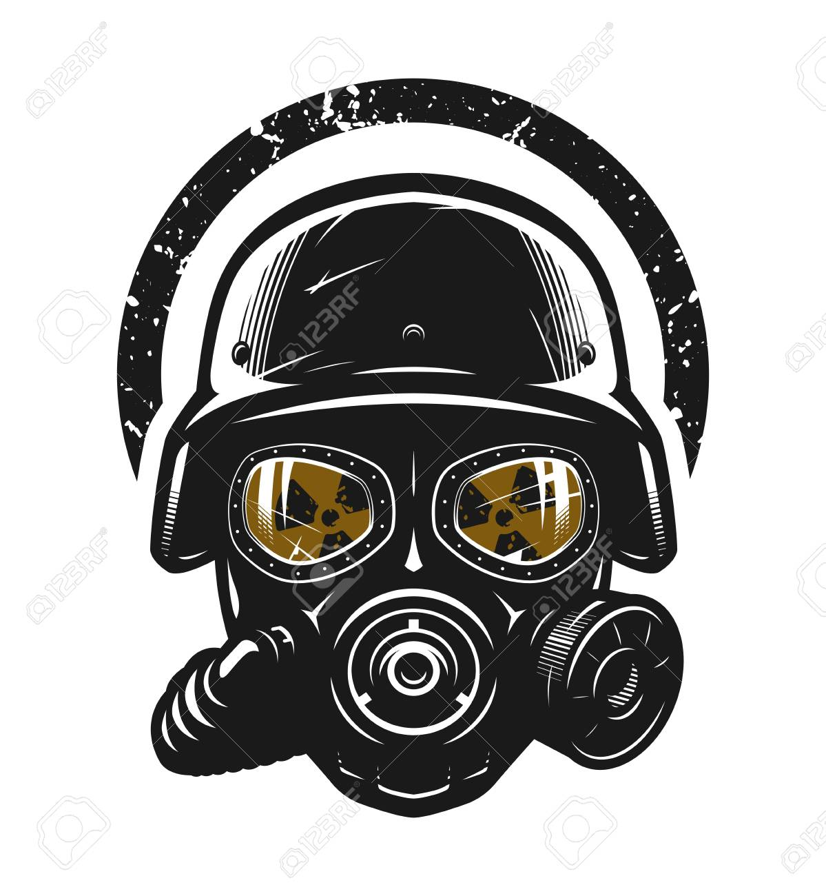 Helmet and gas mask, radiation protection - 124960834