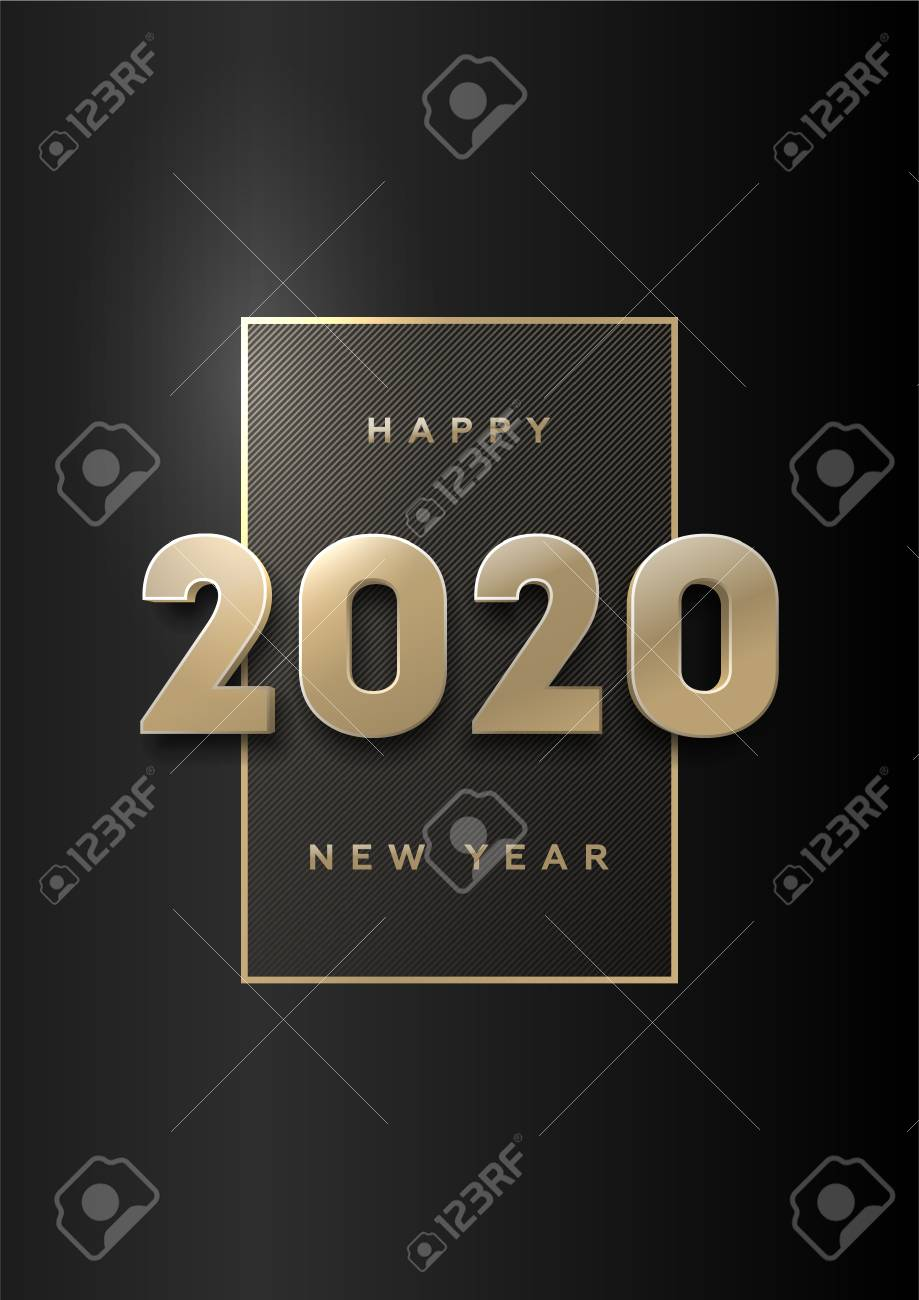 Happy new year, banner with gold 3d numbers 2020 on a dark background. - 122467501