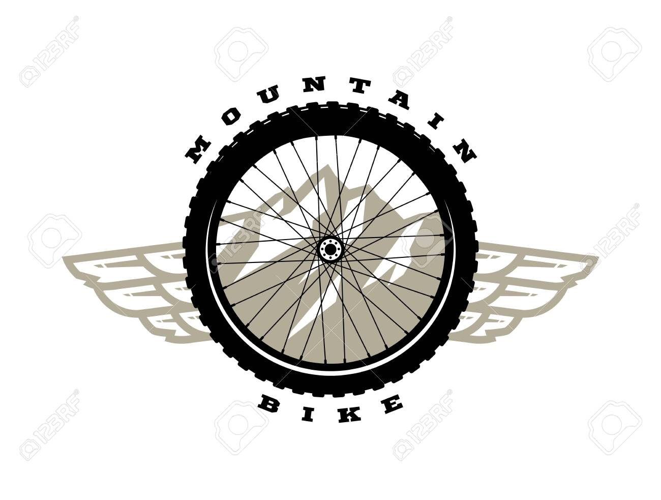 Bicycle Wheel Mountain Bike Logo T Shirt Print Design Vector Royalty Free Cliparts Vectors And Stock Illustration Image 132391124