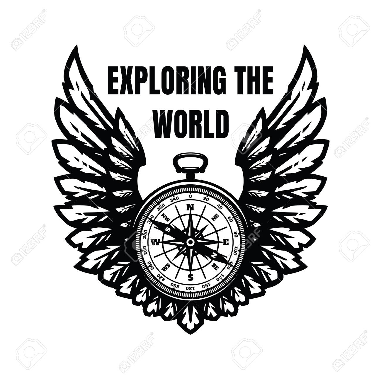 Exploring the world. Compass and wings, sign, symbol. Vector illustration. - 136328504