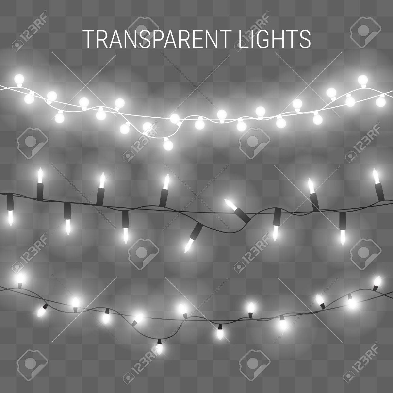 illustration of garland with bright lights. Transparent glowing light bulbs - 66754696