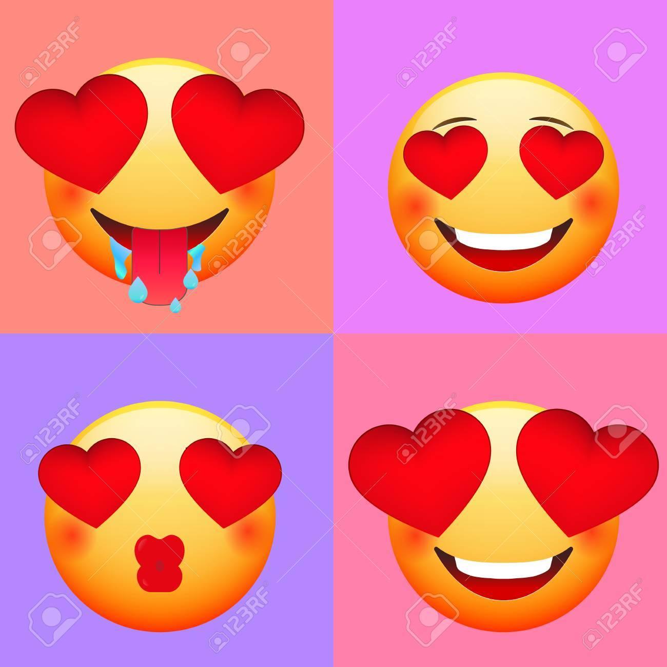 Emoticons Fur Valentinstag Liebe Emoji Set Lizenzfrei Nutzbare