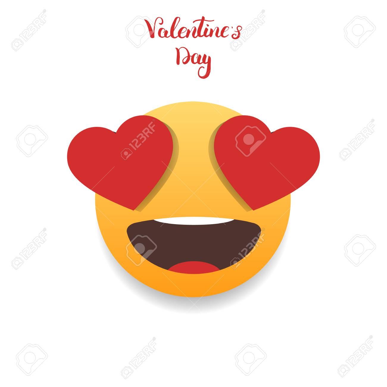 Valentines Day Emoticon In Love Emoji Stock Photo Picture And