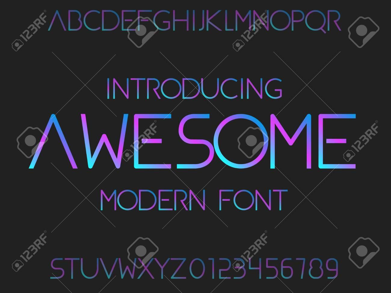 Typeface Modern Typography Alphabet Futuristic Stock Vector