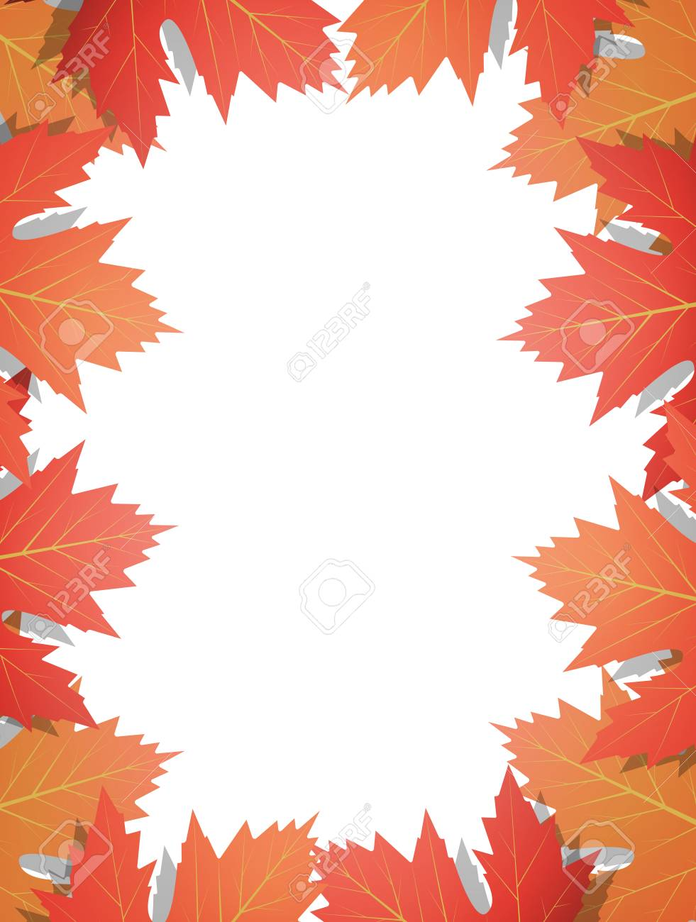 - Autumn Leaves Background. Frame Of Vector Maple Leaves. Template
