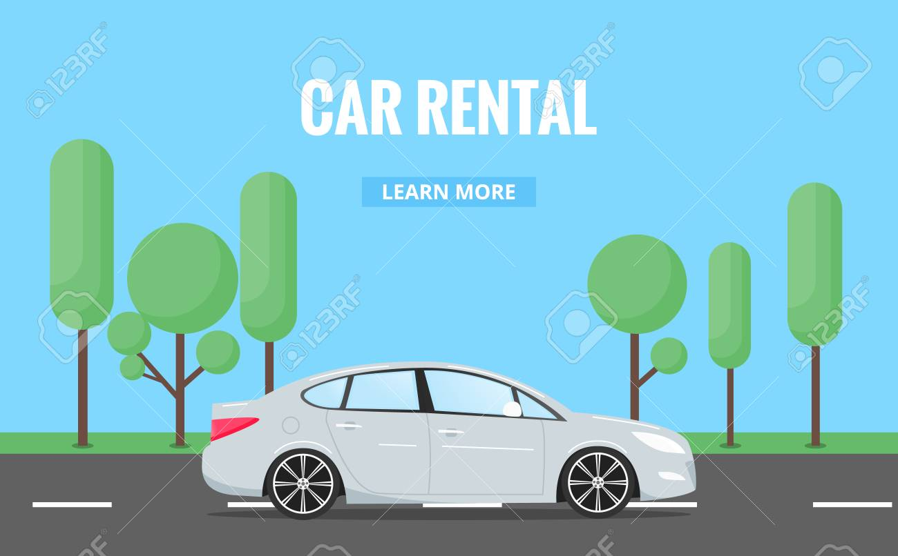 Car Rent Modern Automobile In Trendy Style With Typography For Royalty Free Cliparts Vectors And Stock Illustration Image 87802953