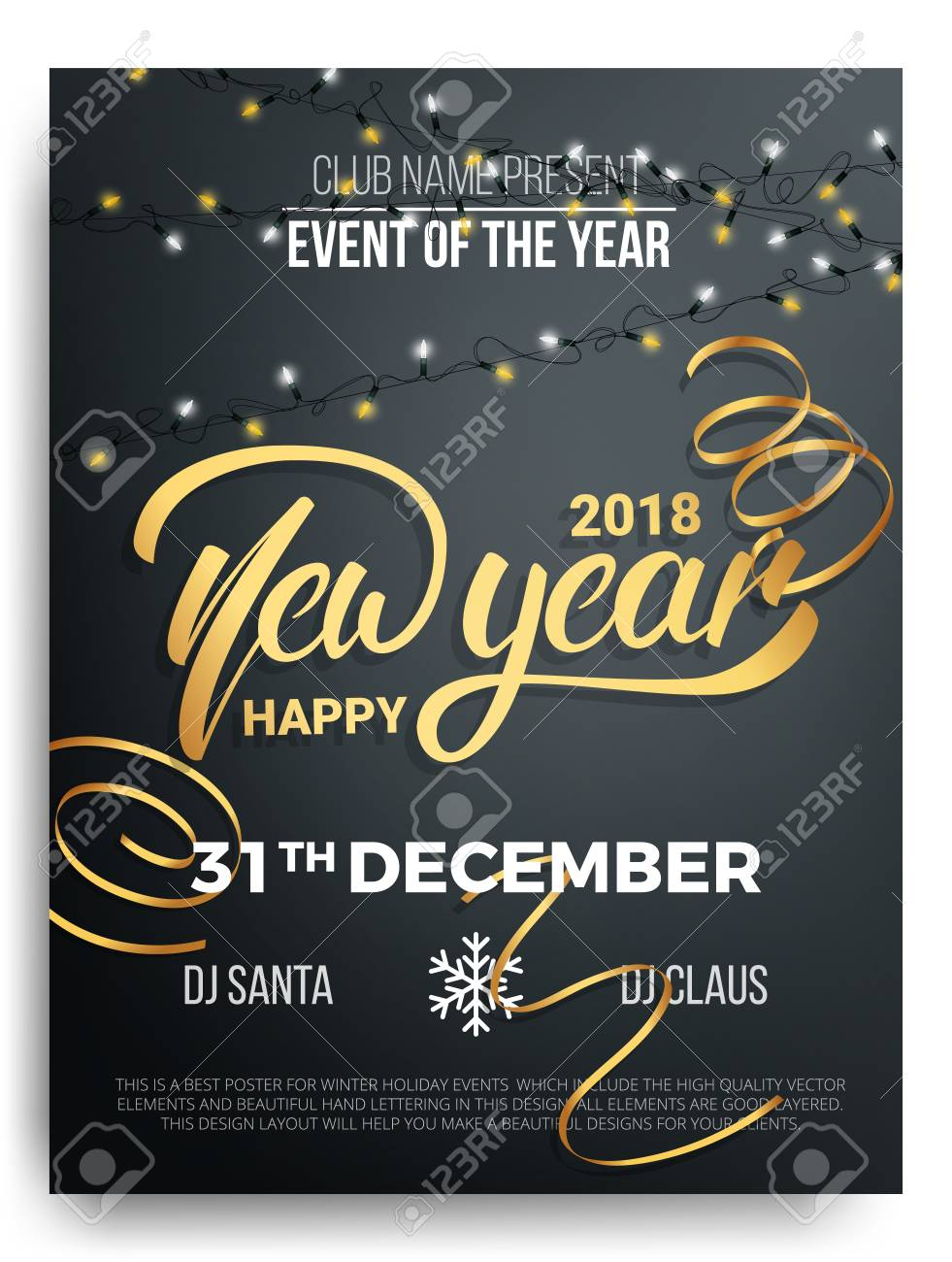 new year party poster design background of new year lettering christmas lights and curly