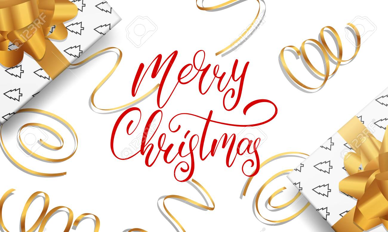 Christmas Card Greetings.Merry Christmas Greeting Card With Calligraphy Lettering Gold