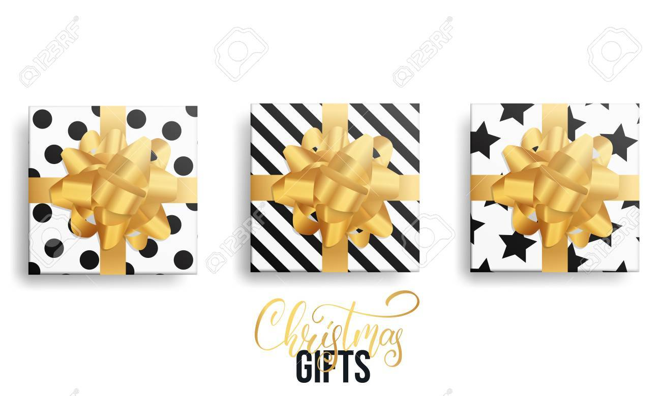 Christmas Gifts. Realistic Gift Packages With Gold Bows And Trendy ...