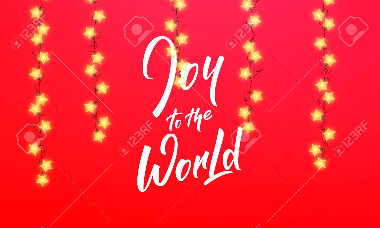 Christmas. Joy To The World Quote Text Lettering Design. Winter ...