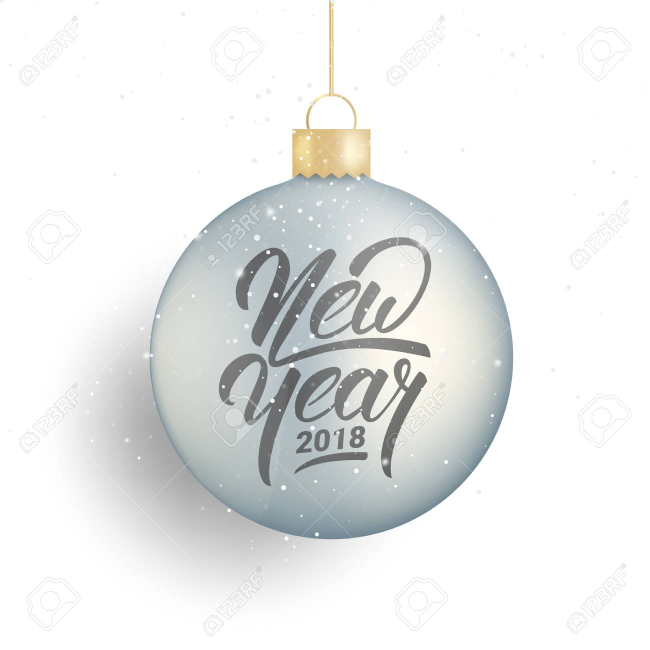 New Year. Winter Seasonal Lettering New Year 2018, Realistic.. Stock ...
