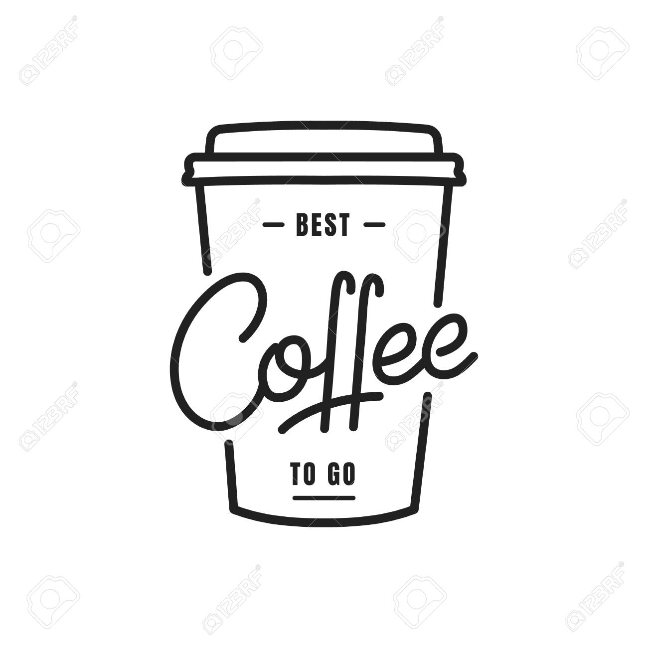 Coffee. Coffee to go lettering illustration on a paper cup. Coffee label badge emblem - 96589251
