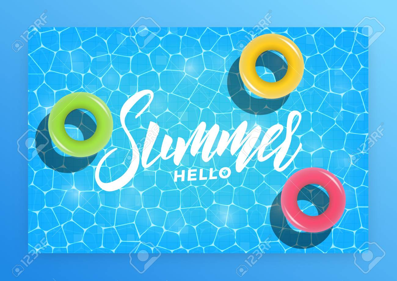 Hello Summer Summer Pool Party Invitation Banner Card Swimming