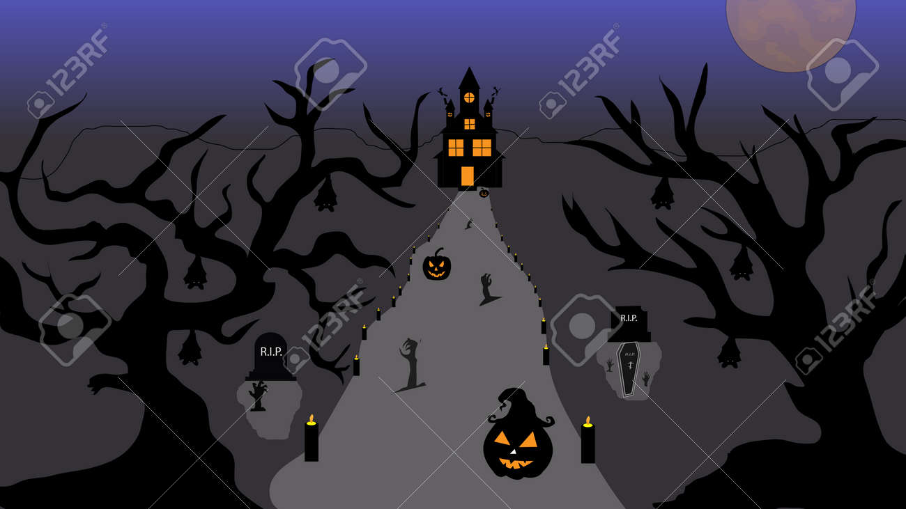 Halloween pumpkins and castle illustration. Halloween night celebration. Style composition Background Halloween. Old haunted house surrounded by silhouettes of trees with the big moon. Vector llustration. - 156365410