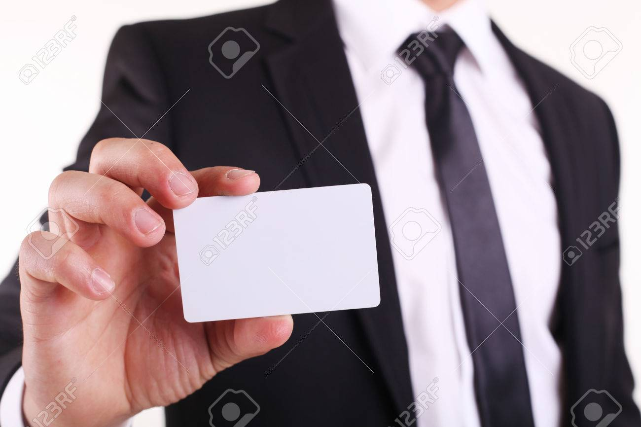 Businessman Showing His Business Card. You Can Just Add Your.. Stock ...