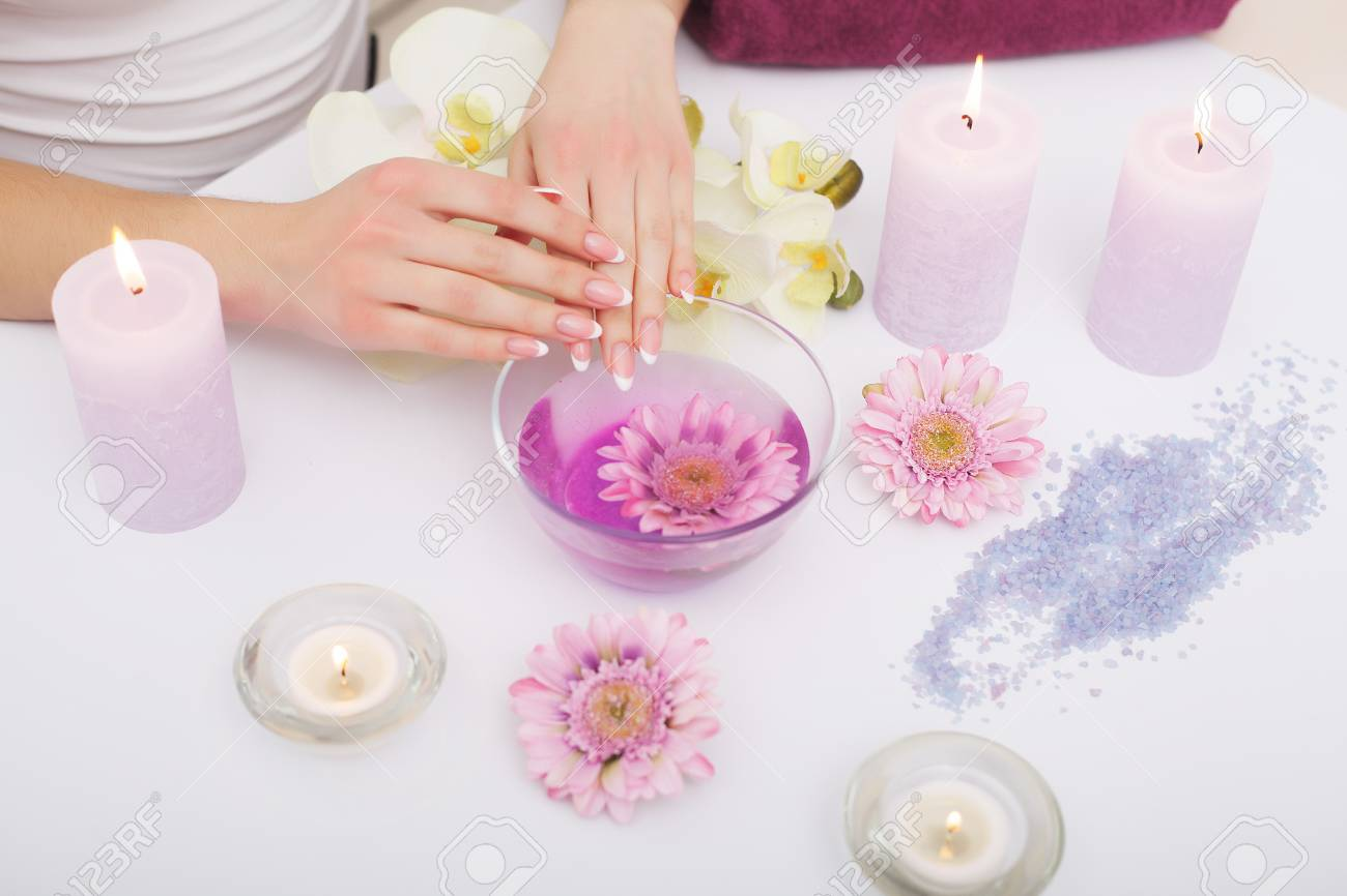 Spa Manicure. Woman Hands With Perfect Natural Healthy Nails.. Stock ...
