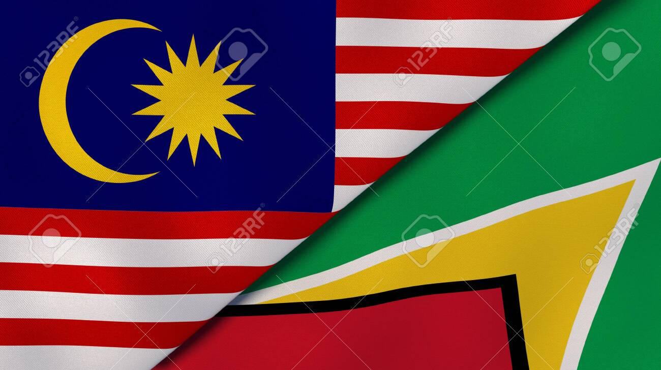Two states flags of Malaysia and Guyana. High quality business background. 3d illustration - 145501902