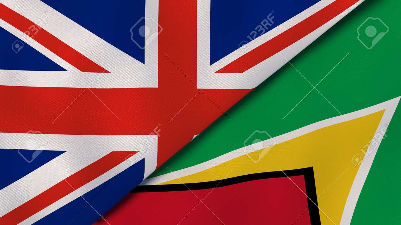 Two states flags of United Kingdom and Guyana. High quality business background. 3d illustration - 146299630