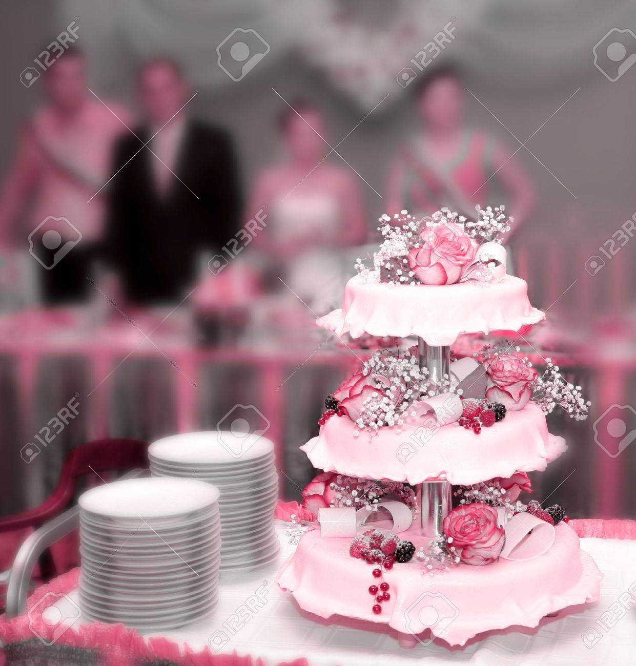 Wedding pie with roses and berries Stock Photo - 3648750