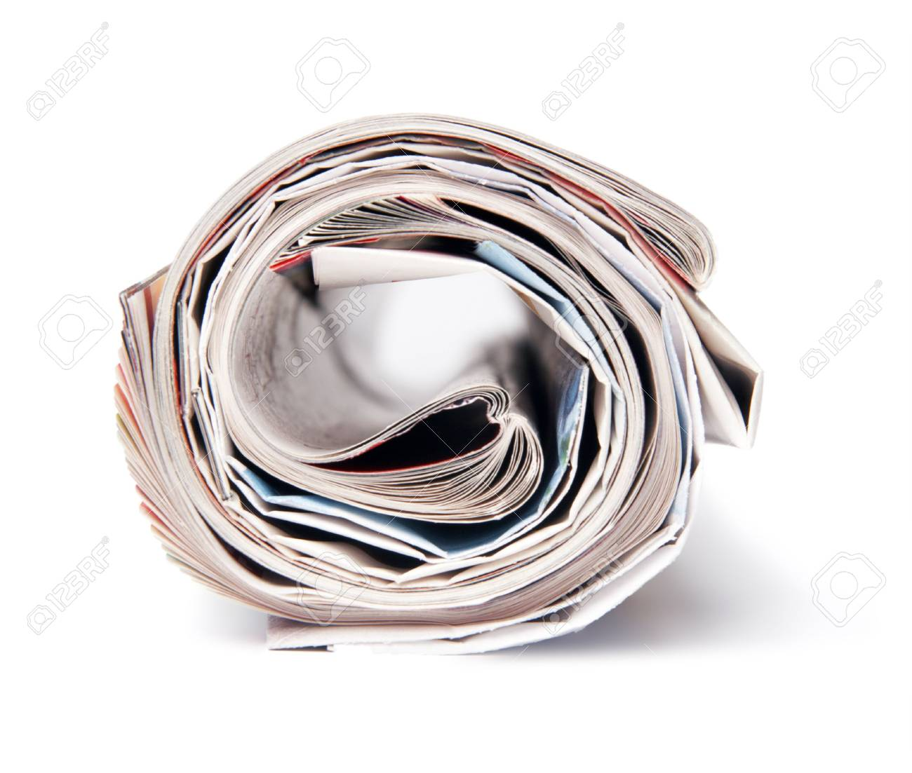The newspaper curtailed into a tube on a white background. - 4599798