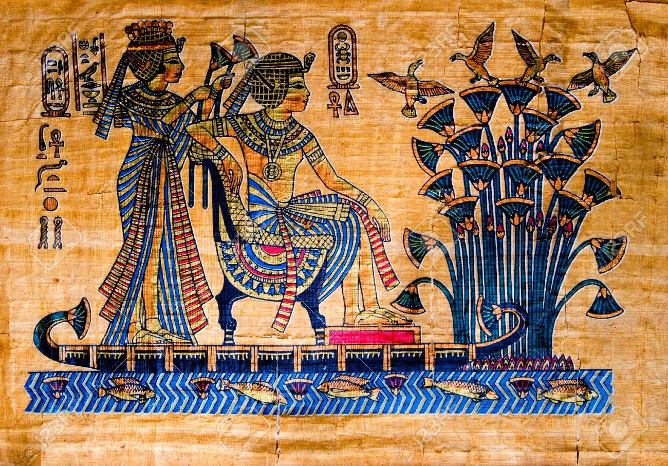 Papyrus with elements of egyptian ancient history - 4795331