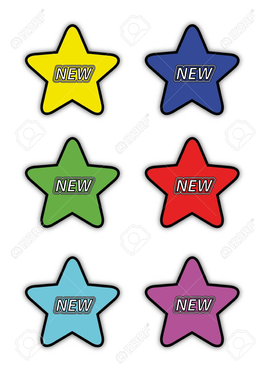 Star icons isolated on white with text new Stock Vector - 14791429