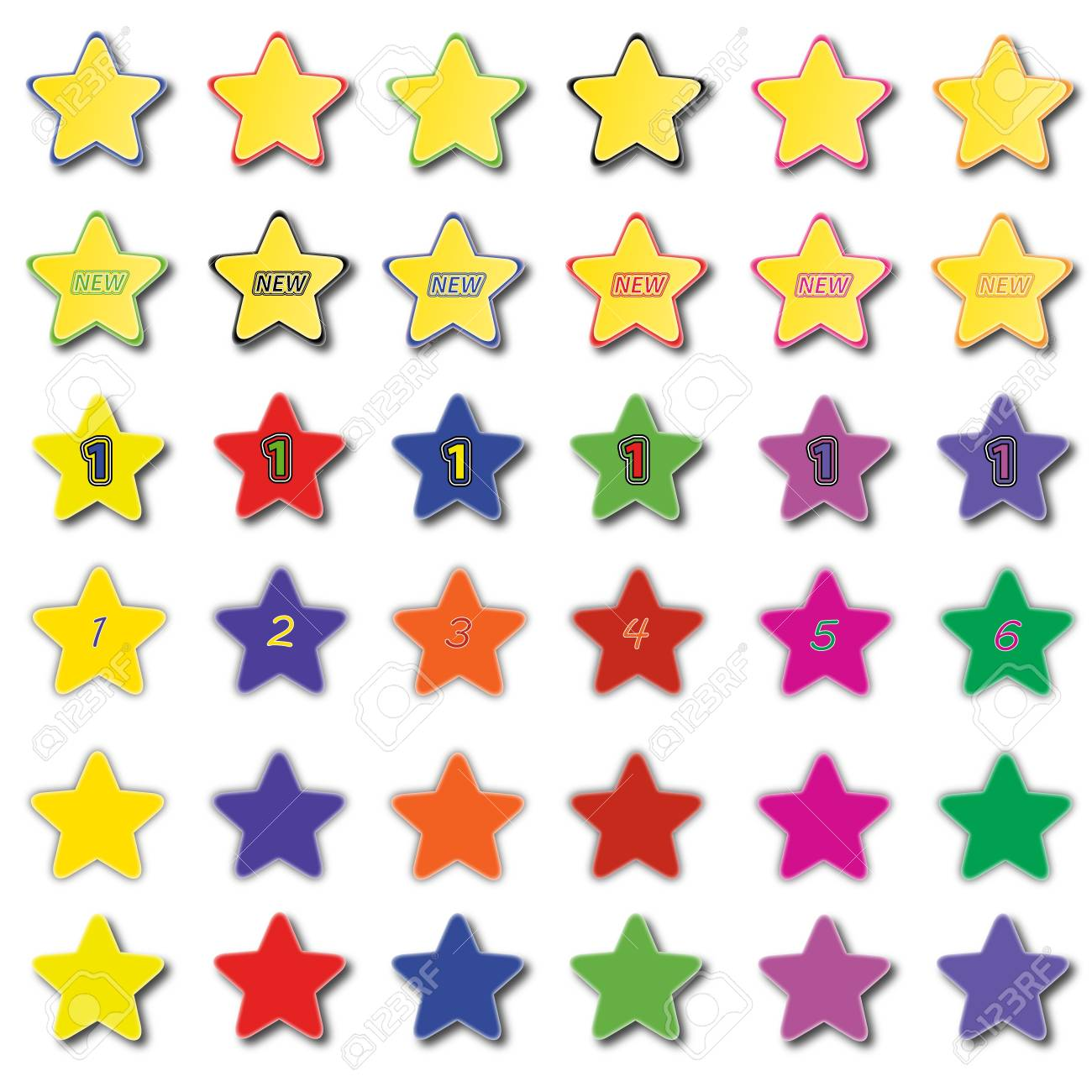 Set of various colored star icons Stock Vector - 14791642