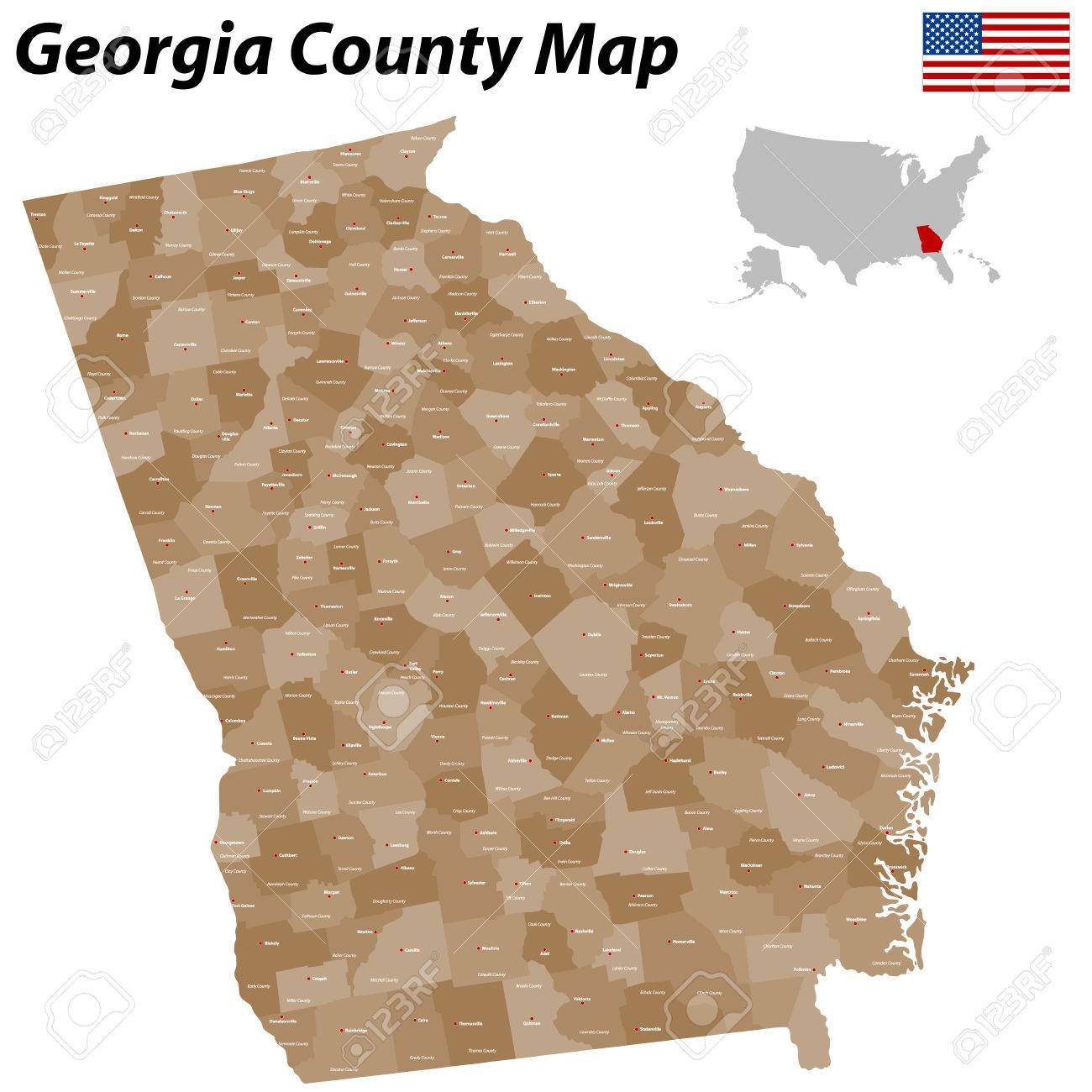 Georgia Map Of Cities And Counties.A Large Detailed And Colored Map Of The State Of Georgia With