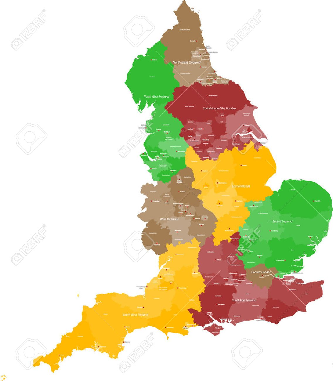 Map Of England With Counties And Major Cities.A Large Detailed And Colored Map Of England With All Counties