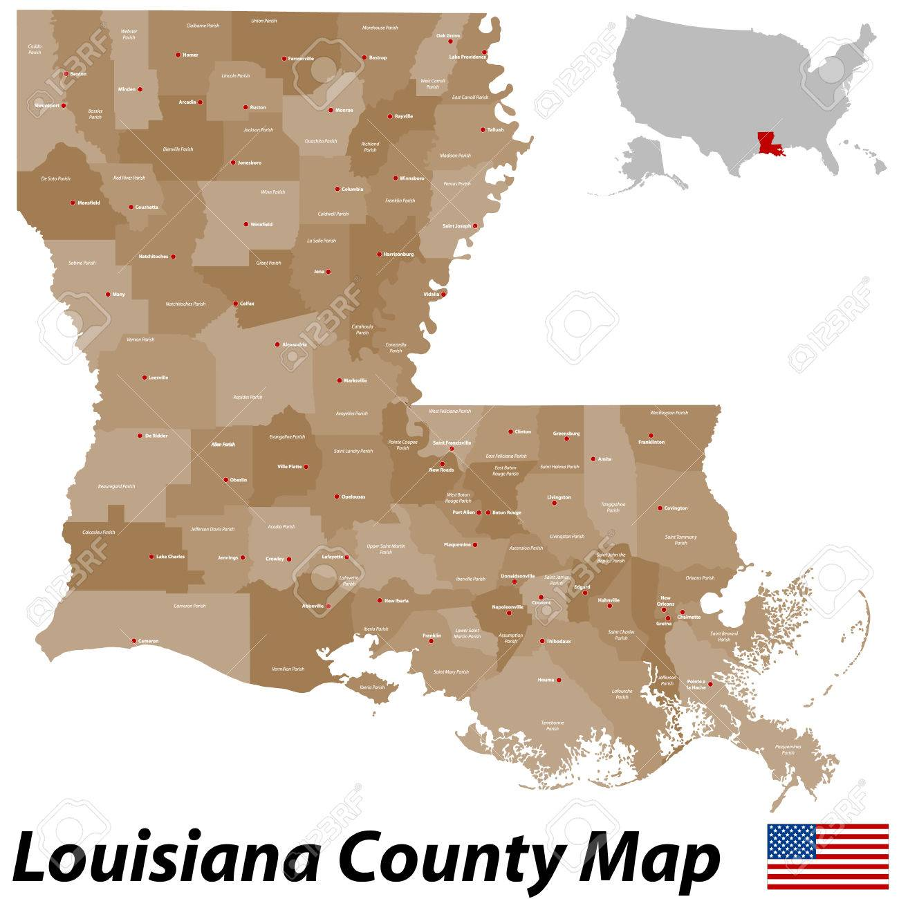 A Large Detailed Map Of The State Of Louisiana With All Parishes