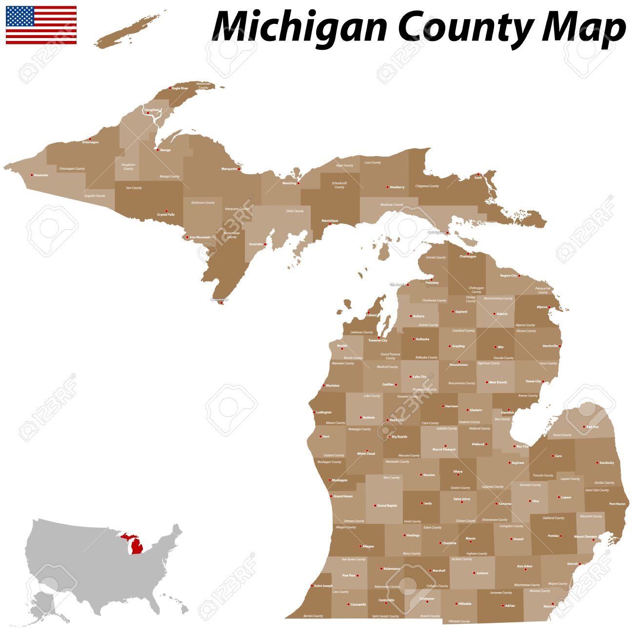 A Large And Detailed Map Of The State Of Michigan With All