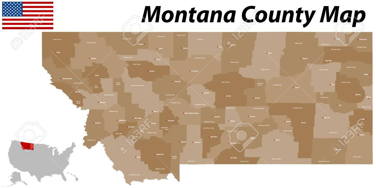 A large and detailed map of the State of Montana with all counties..