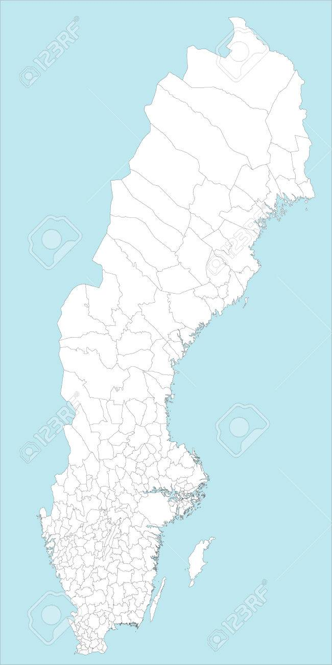 Schweden Karte Regionen.Stock Photo