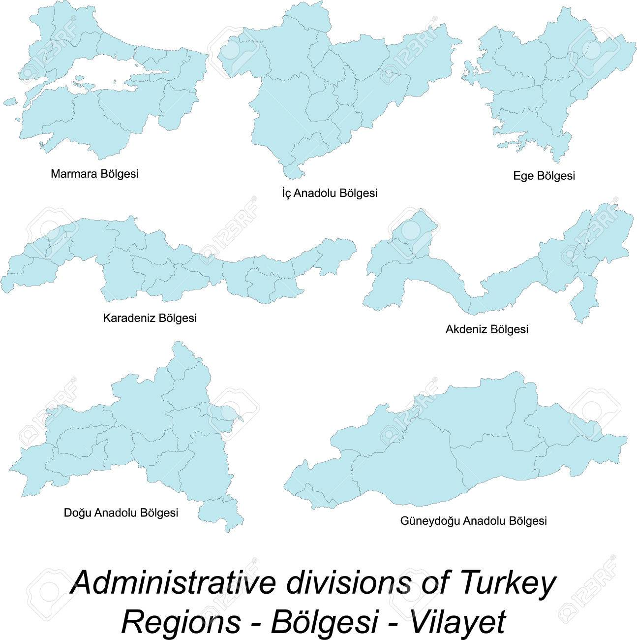 Detailed Maps Of Turkey Regions Royalty Free Cliparts Vectors And