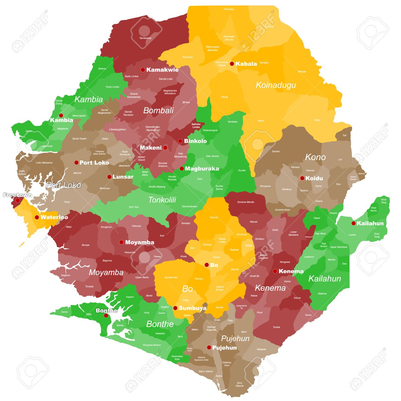 A Large And Detailed Map Of Sierra Leone With All Areas Chiefdoms